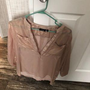 Apt 9 sheer rose gold bling tunic blouse euc M